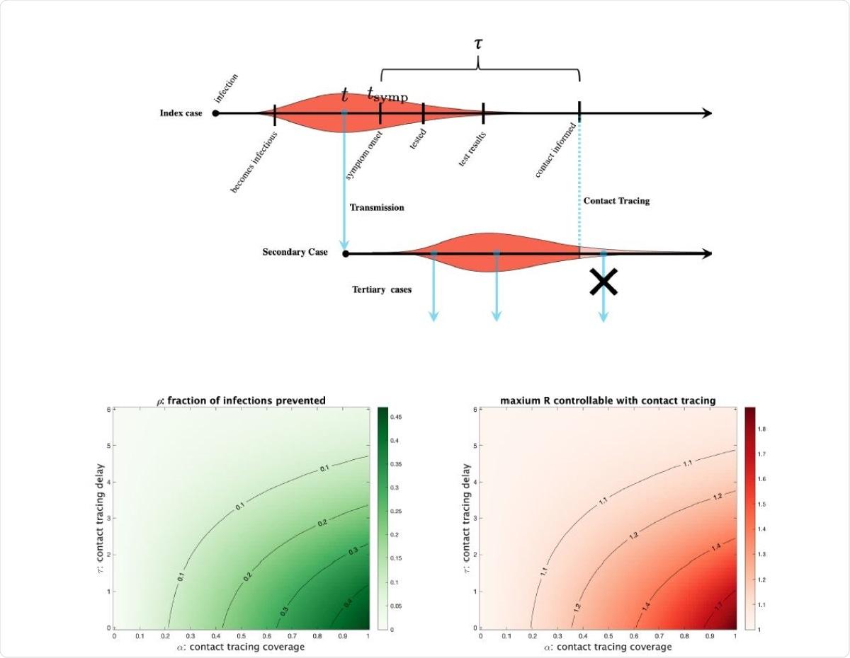 Проследяването на контакти в случай на индекс елиминира инфекциите от вторичен случай само след настъпване на контакт и самоизолация (синя пунктирана линия).